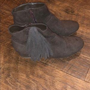 Brown Tassel Booties with built in wedge!